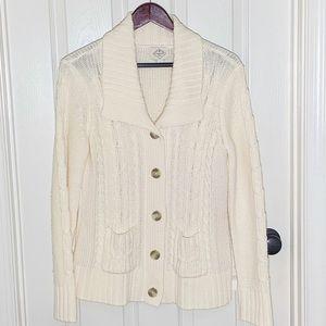 Ivory Chunky Cable Knit Cardigan w/Pockets Sz L
